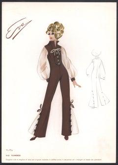'Flamenco' Italian 1960s Women's Fashion Design Illustration