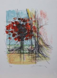 Fleur et Barges II-L. E. Print, Signed by Artist (Signature is Illegible)