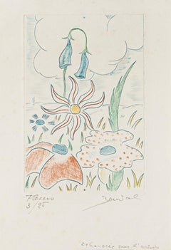 Flowers - Original Etching signed Bouval - 20th Century