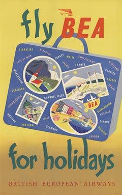 Fly BEA for holidays original  original vintage travel poster