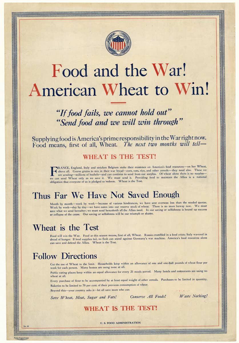 Food and the War! Original c. 1918 World War 1 vintage poster