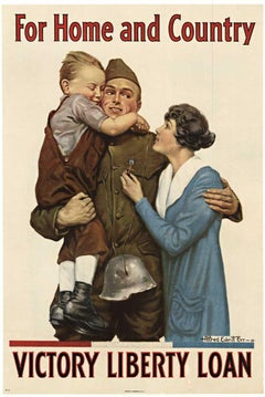 For Home and Country, Victory Liberty Loan original World War 1 vintage poster