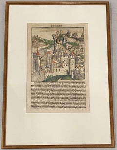 Framed 18th Century Hand Colored German Book Page W/ Illustration and Text