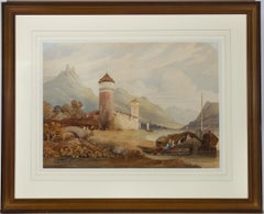 Framed 19th Watercolour - Continental Landscape with Castle