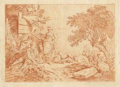French 18th century bucolic scene, soft ground etching, style of Boucher, c1770,