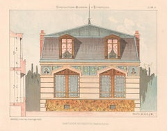 French architecture house design lithograph, late 19th century, c1870