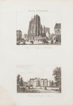 French Castle - Original Etching - 19th Century