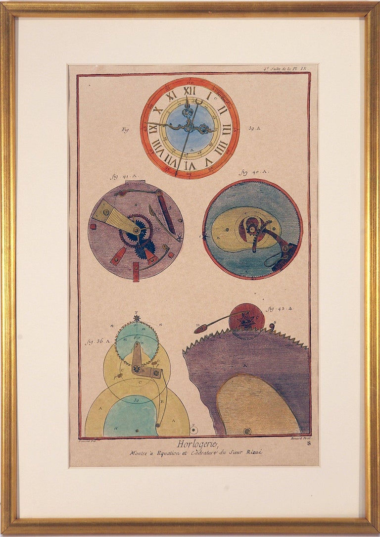 French Clock Engravings S/3 - Realist Print by Unknown