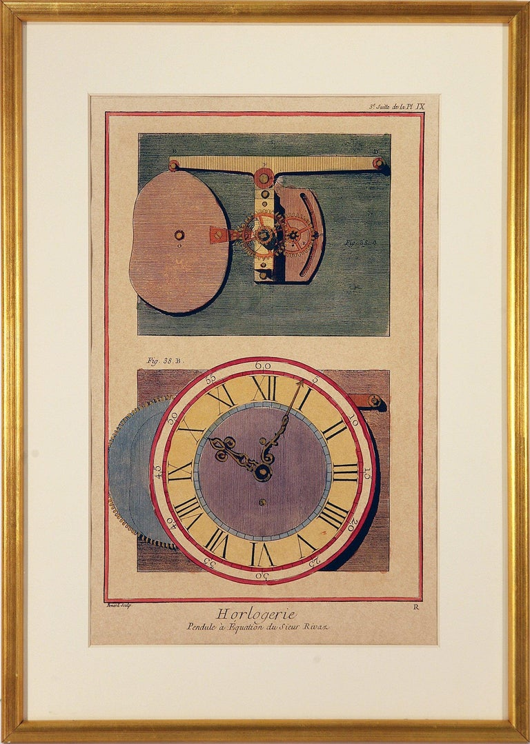 French Clock Engravings S/3 - Beige Interior Print by Unknown