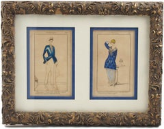 French Colored Fashion Print Les Annees Folles Outfit Framed