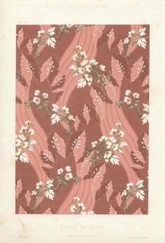 French Fabric Design - Etoffe de Genes, antique French chromolithograph print