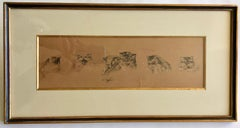French Framed Etching Of Cats In 6 Different Postures With A Dragonfly, Signed