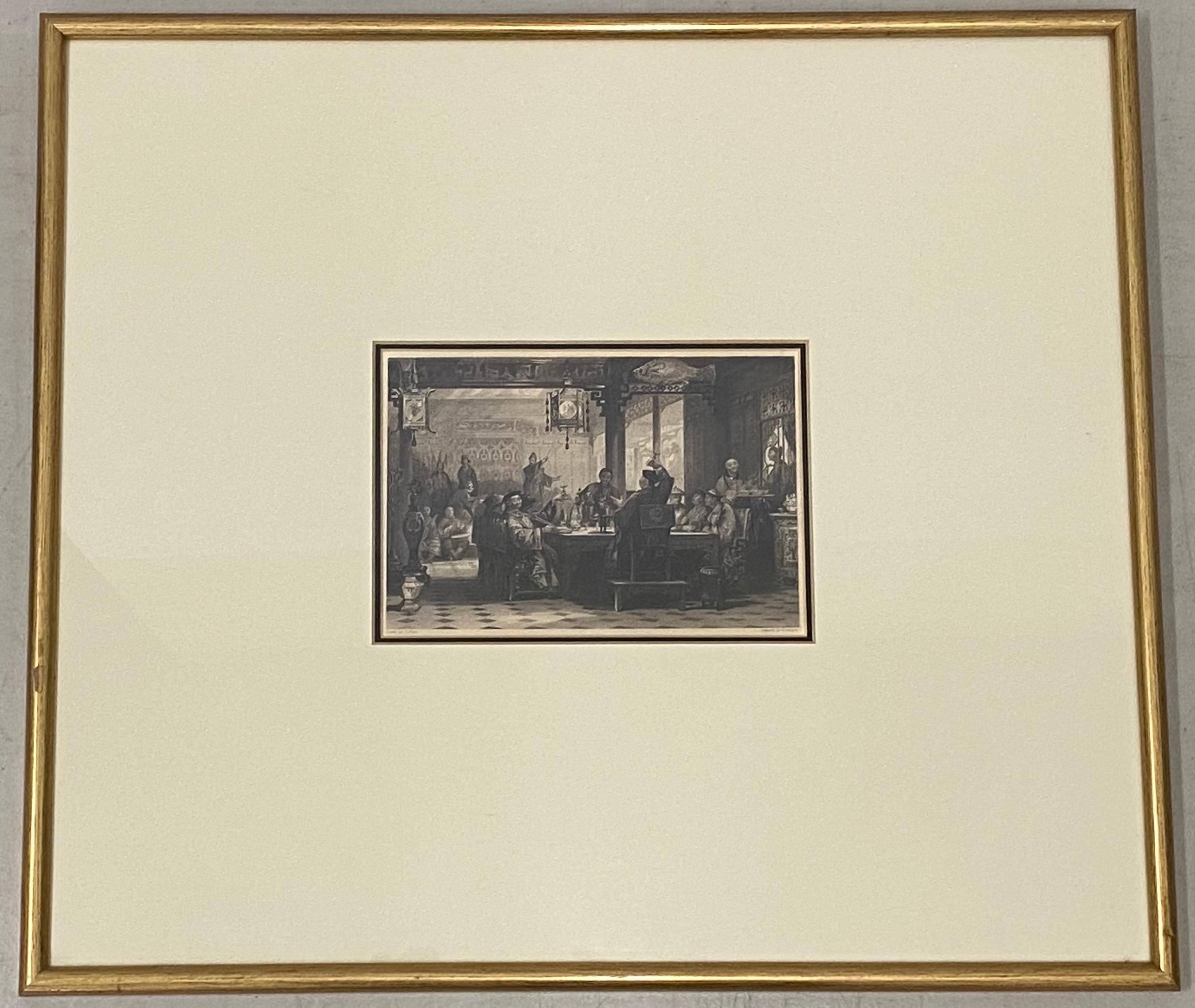 """G. Paterson """"Dinner Party at a Mandarin's House"""" Engraving After T. Allom c.1840"""