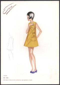 'Gaia' Italian 1960s Women's Fashion Design Illustration