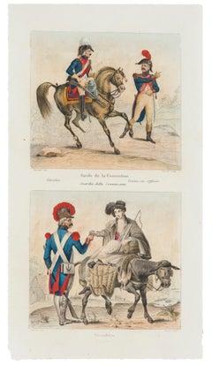 Garde de la Convention and Vivandère - Original Lithograph - 19th Century