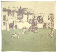 Garden - Original Lithograph on paper - Late 20th Century