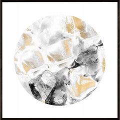 Geo Circles 1, black and white, gold leaf, framed