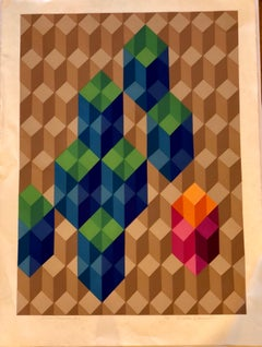 Geometric Post-modern Lithograph Signed Numbered by Chester Solomon