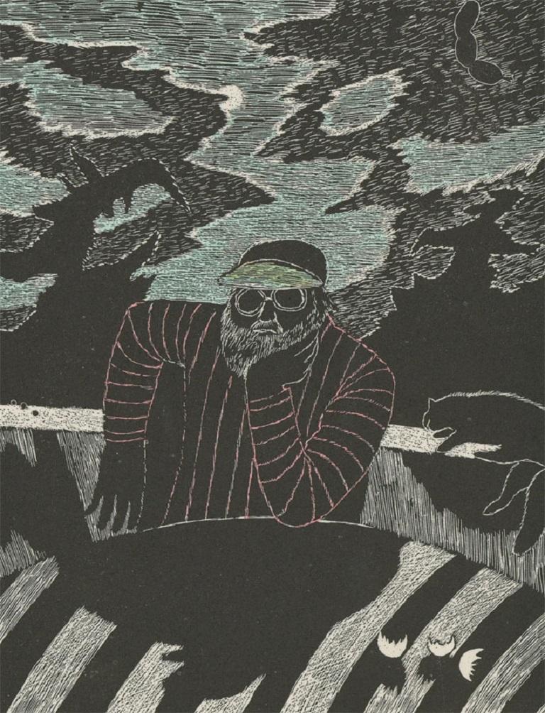 George E. Johanson (b. 1928) - Signed 1983 Etching, Striped Self Portrait