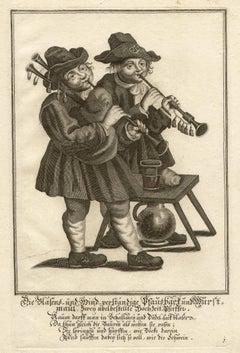 German folk dancing, set of six engravings, circa 1720