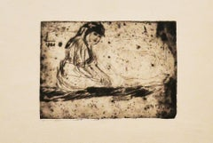 Girl - Original Etching - Early 20th Century
