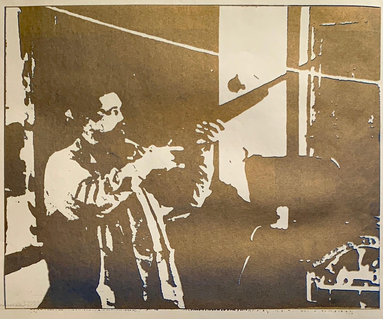 """""""Gold and Blue Gun"""" 1970s Original Portrait Silkscreen"""