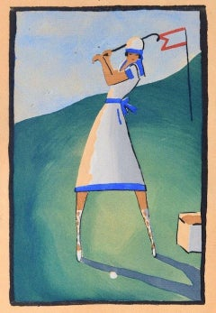 Golf Player / Woodcut Hand Colored in Tempera on Paper - Art Deco - 1920s