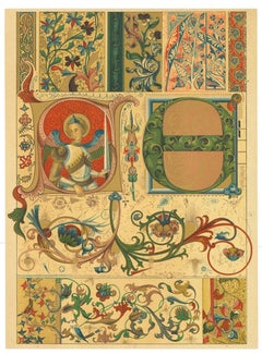 Gothic Decorative Motifs - Vintage Chromolithograph - Early 20th Century