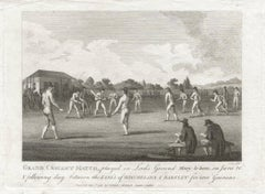 Grand Cricket Match at Lord's Ground, Marylebone, sport engraving, 1793