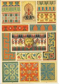 Greek Decorative Motifs - Original Chromolithograph - Early 20th Century