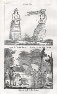 Guam, Chamorros native inhabitants, mid 19th century lithograph. Oceania.