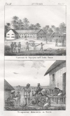 Guam, Convent and native inhabitants, mid 19th century lithograph. Oceania.