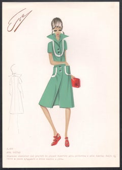 'Guitar' Italian 1960s Women's Fashion Design Illustration