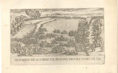 Hannibal Crossing the Rone - Original Etching - 16th Century