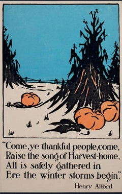 """Harvest Home - Henry Alford Poem,"" Color Lithograph Poster of Pumpkins & Hay"