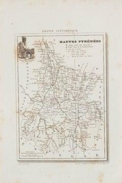 Hautes-Pyrénées Map - Original Lithograph - 19th Century