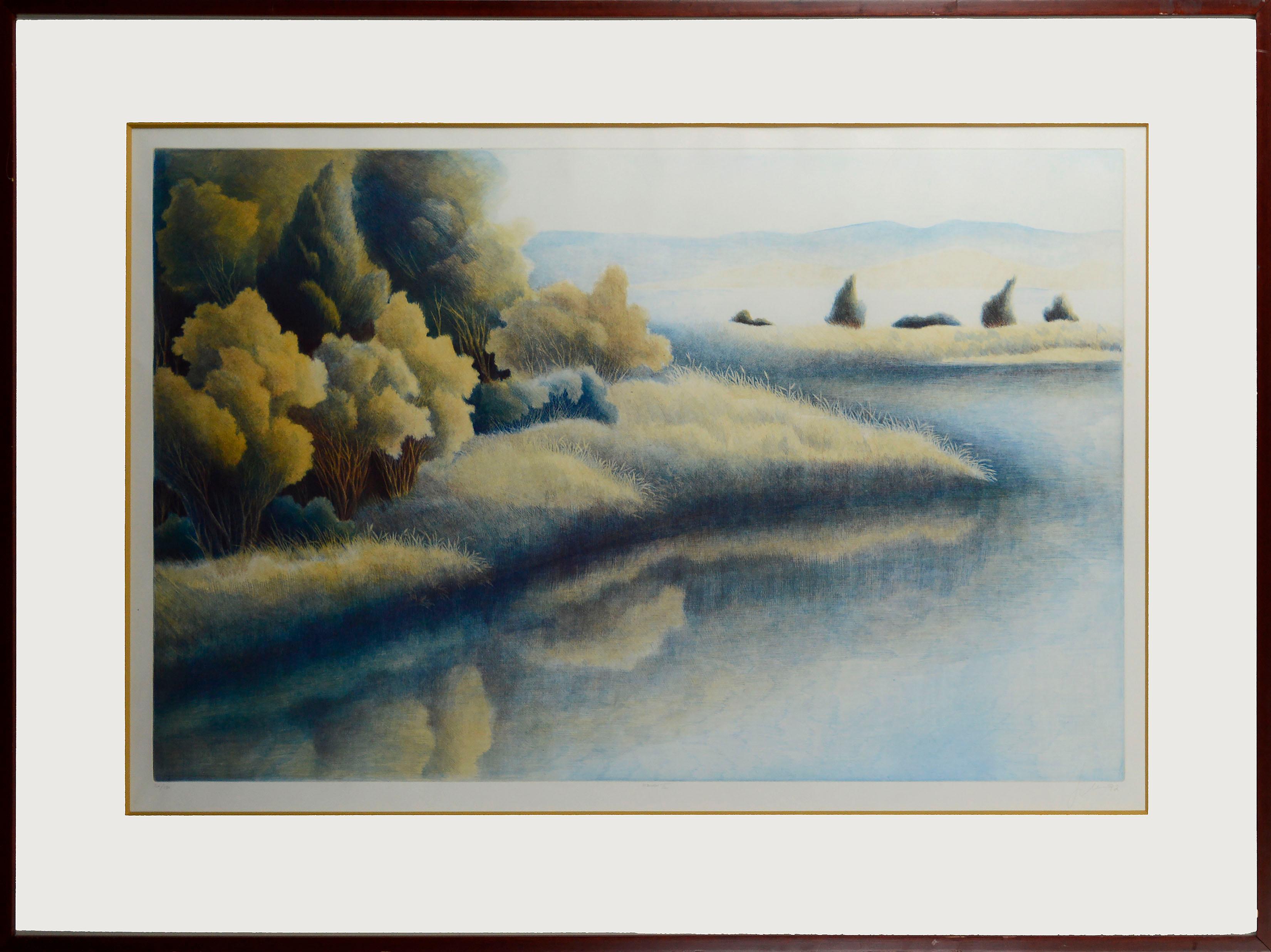 """Haven III"" - Lakeside Grassland Landscape Lithograph, 50/150"