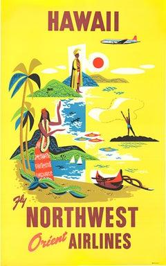 Hawaii Northwest Orient Airlines original vintage travel poster
