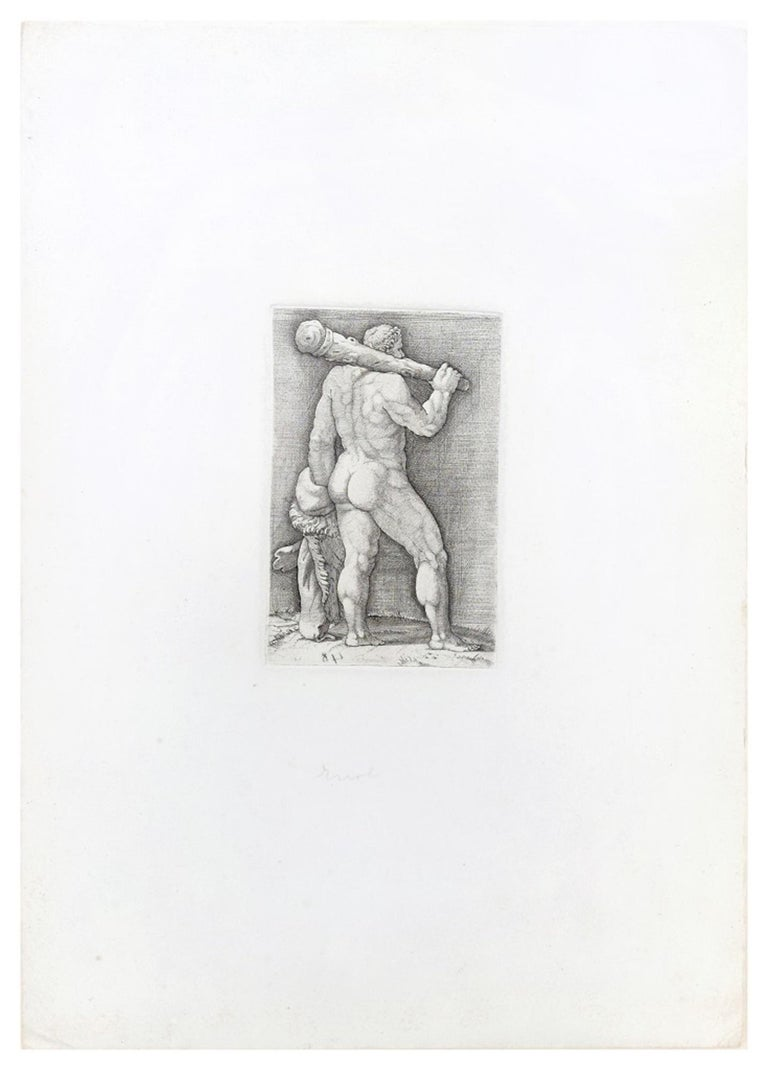 Heracles with the Club - Original Etching by Anonymous Master 17th Century - Print by Unknown