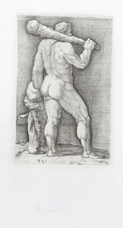 Heracles with the Club - Original Etching by Anonymous Master 17th Century