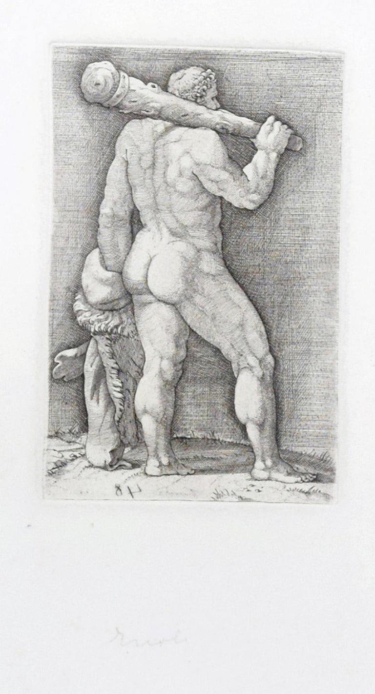 Unknown Figurative Print - Heracles with the Club - Original Etching by Anonymous Master 17th Century