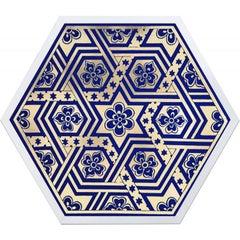 Hexagon Moroccan Tile Design No. 1, gold leaf, framed
