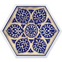 Hexagon Moroccan Tile Design No. 2, gold leaf, framed