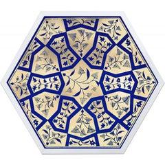Hexagon Moroccan Tile Design No. 3, gold leaf, framed