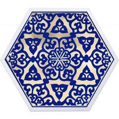 Hexagon Moroccan Tile Design No. 4, gold leaf, framed