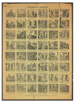 Historia de Garibaldi - Group of 48 Original Woodcuts - Late 19th Century