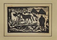 Horses - Original Woodcut Print - 1962