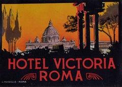Hotel Victoria Roma Rome Original Printed Luggage Label