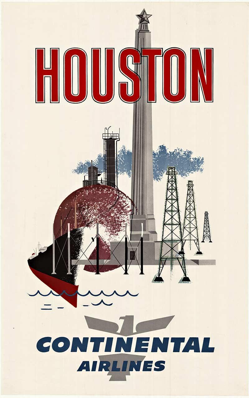 Houston Continental Airlines original vintage travel poster