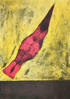 Human Bullet - Original Lithograph by Rufino Tamayo - 1974